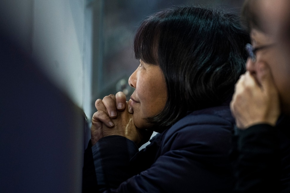 (Chris Detrick   The Salt Lake Tribune) Hetty Wang watches to see if Spain's Javier Fern‡ndez will bump her son Nathan Chen out of medal contention in the Men Single Skating Free Skating at Gangneung Ice Arena during the Pyeongchang 2018 Winter Olympics Saturday, Feb. 17, 2018. Chen landed a record six quadruple jumps, scoring 215.08.