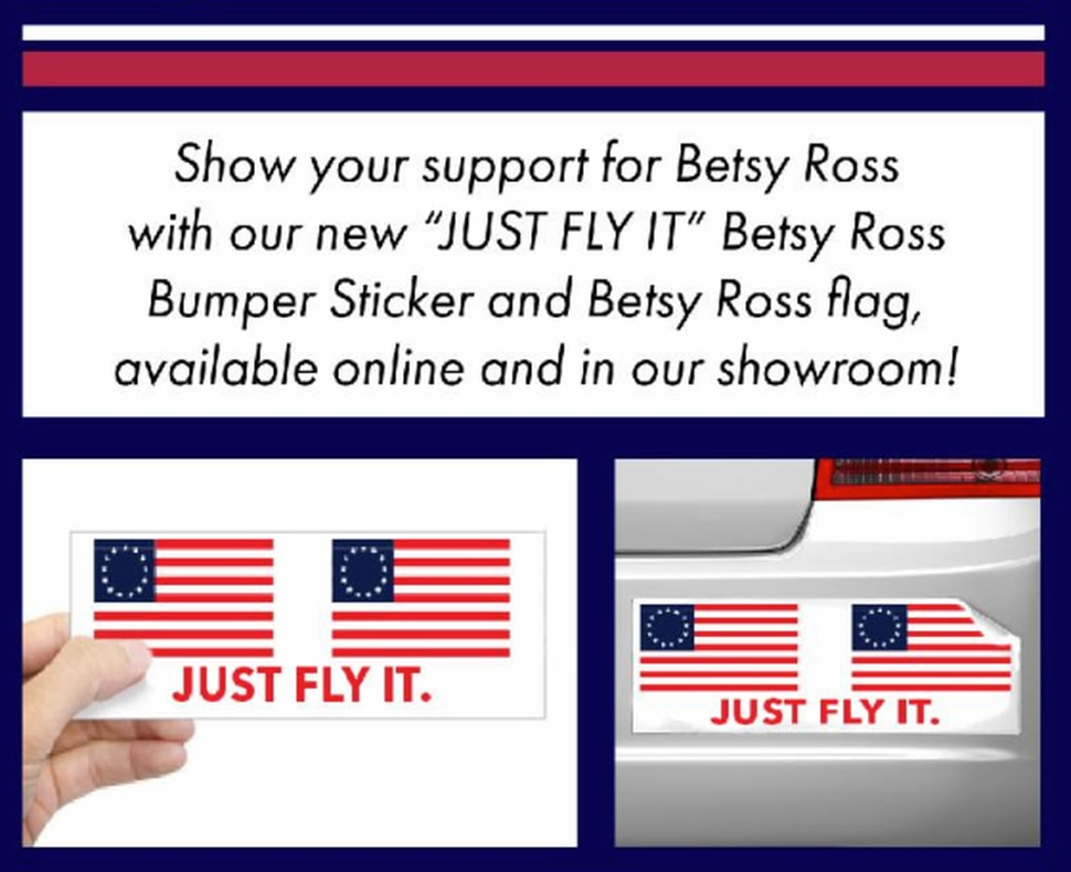 (Screenshot) A screenshot from a Colonial Flag email advertising new Betsy Ross flags and bumper stickers.
