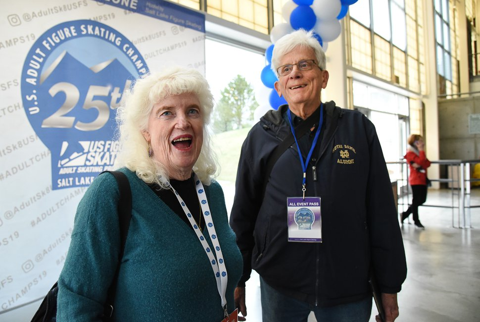(Francisco Kjolseth | The Salt Lake Tribune) Connie Curry, 80, alongside her husband Tom Larence, 78, is the most senior skater participating in the 2019 U.S. Adult Figure Skating Championships, now in its 25th year, being held at the SLC Sports Complex. Connie who is scheduled to be part of the opening ceremonies says she started skating at the age of 60 when her father at the age of 95 asked her is she had any regrets. Learning how to ice skate was her response after some thought and she has never turned back. Though she doesn't skate with Tom they do like to play Bluegrass together with Tom on an upright base and Connie playing the banjo. Over 600 skaters between 21 and 80 will compete April 3-6.