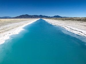 "(Francisco Kjolseth  |  The Salt Lake Tribune) The Bureau of Land Management is dissuading people from visiting the vibrant blue potash production canal, located just east of the Bonneville Salt Flats, which has garnered attention recently as seen on Monday, June 22, 2020. ""The canals are industrial facilities leased to Intrepid Potash for mining activities and are not designed or safe for public recreation,"" reads in part a statement by the BLM."