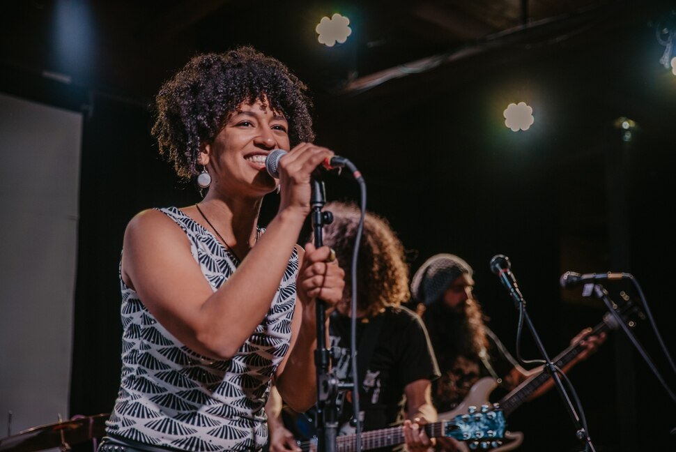 (Photo courtesy of Spirit Machines) Pepper Rose, lead singer of the Salt Lake City alt-rock band Spirit Machines, with guitarist Dave Crespo and bassist Sergio Marticorena in the background.
