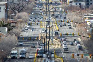 (Rick Egan | The Salt Lake Tribune) Traffic  on 400 South in Salt Lake City on Tuesday, Jan. 5, 2021.