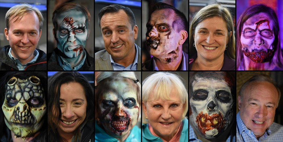(Francisco Kjolseth | The Salt Lake Tribune) Local politicians fall prey to the zombie apocalypse at the Fear Factory on Thursday, Oct. 12, 2017, as they raise awareness for needed donations to the Utah Food Bank. Undergoing the transformation, clockwise from upper left, Salt Lake County Mayor Ben McAdams, Utah House Speaker Greg Hughes, Salt Lake County Councilmember Jenny Wilson, State Senators Jim Dabakis and Karen Mayne, and Utah House member Angela Romero.