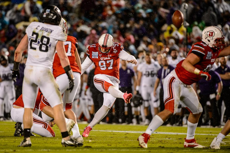 (Trent Nelson | The Salt Lake Tribune) Utah Utes place kicker Matt Gay (97) scores a field goal as the University of Utah faces Northwestern in the Holiday Bowl, NCAA football in San Diego, Calif., on Monday Dec. 31, 2018.