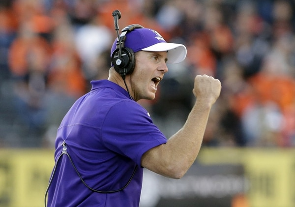 Weber State coach Jay Hill reacts after his team scores on an interception during the second half of an NCAA college football game against Oregon State in Corvallis, Ore., Friday, Sept. 4, 2015. Oregon State won 26-7. (AP Photo/Don Ryan)