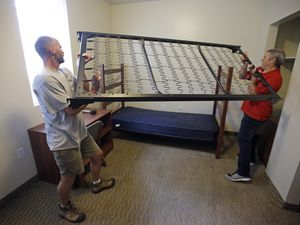 (Rick Bowmer | AP) In 2015, amid a surge in demand for housing at Southern Utah University, building and housing officials Brad Niederhauser and Chris Ralphs built a bunk bed. The Cedar City school is facing another housing crunch for this fall.