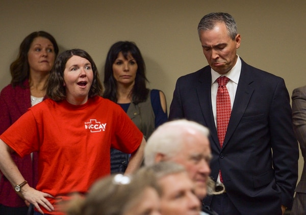 (Leah Hogsten | The Salt Lake Tribune) Senate District 11 candidate, Rep. Dan McCay, R-Riverton, shed a few tears after finding out that he won the party nomination at the Utah Republican Nominating Convention Saturday, April 21, 2018 at the Maverik Center.