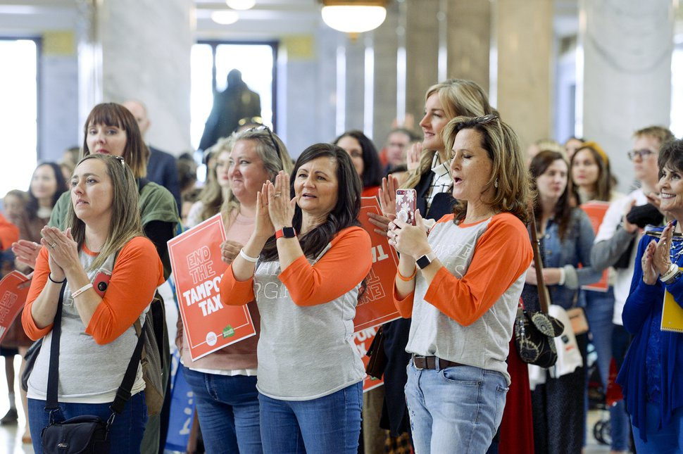 (Leah Hogsten | The Salt Lake Tribune) In an effort to end the sales tax on menstrual products, women and men rallied Wednesday at the Capitol.