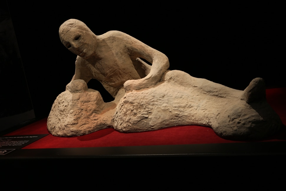 (Image courtesy The Leonardo / IMG) A cast of one of the victims of Mt. Vesuvius, seen in Pompeii: The Exhibition, a touring exhibition set for The Leonard Museum of Creativity and Innovation, Nov. 23, 2019, to May 3, 2020.