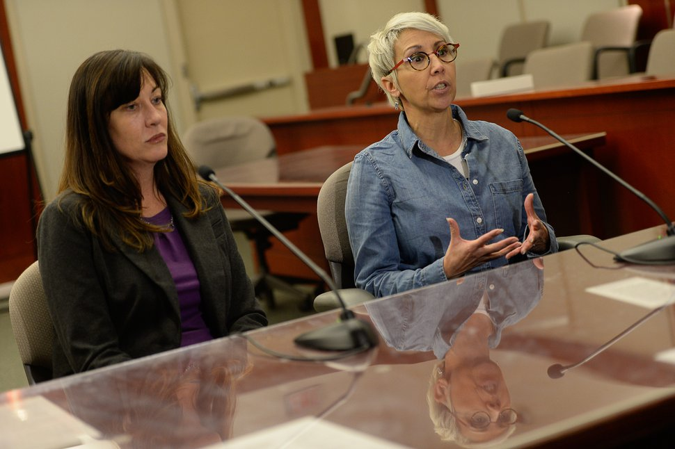 Francisco Kjolseth | The Salt Lake Tribune Jurors Melissa Smith, left, and Sandra Buendia speak with the press after finding former Utah Attorney General John Swallow not guilty on all charges in his public-corruption trial in Salt Lake City, Thursday March 2, 2017.