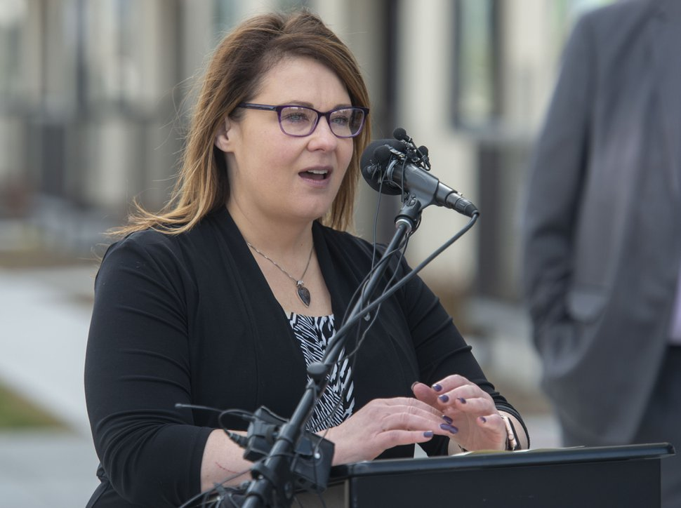 (Rick Egan | Tribune file photo) South Salt Lake Mayor, Cherie Wood makes a few comments at the celebration of the new double-track rail line for the S-Line Sugar House Streetcar, April 5, 2019.