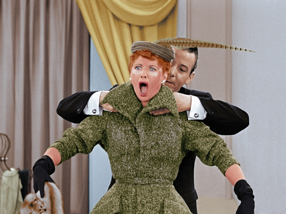"""(Photo courtesy CBS) Lucy Ricardo (Lucille Ball) suffers a bit of a sunburn in the """"The Fashion Show"""" episode of """"I Love Lucy."""""""