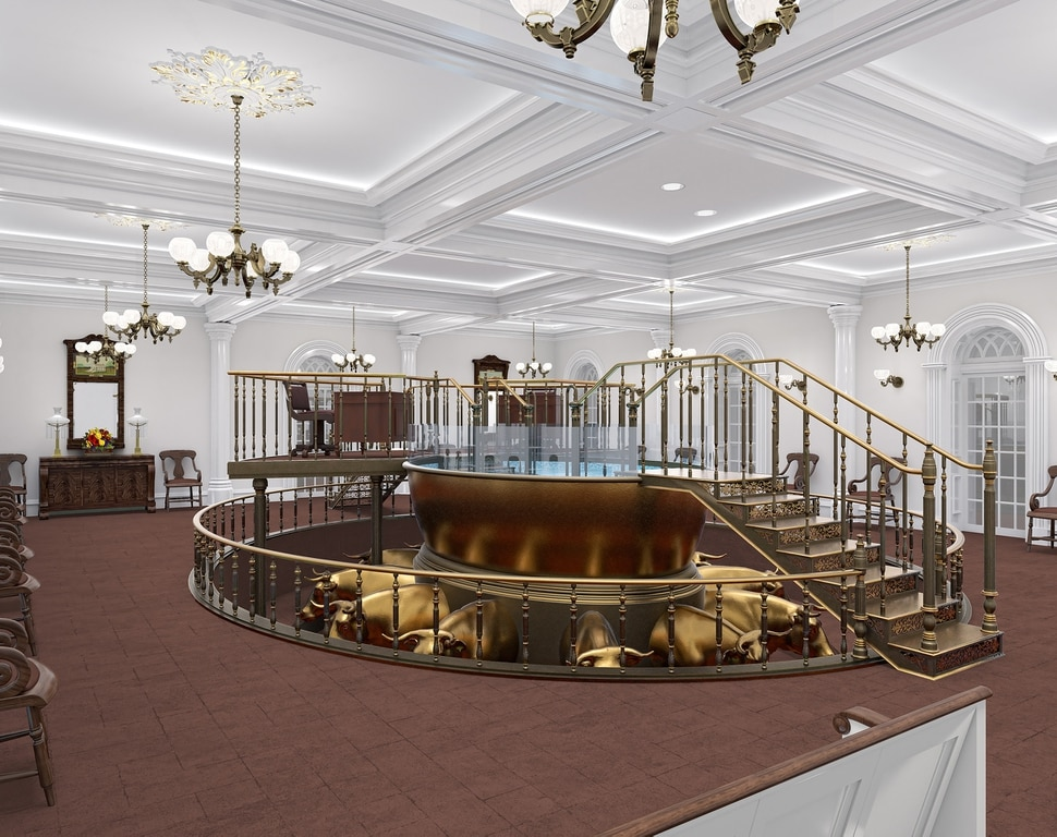 (Courtesy of The Church of Jesus Christ of Latter-day Saints) This rendering shows the remodeled baptistry in the St. George Temple.