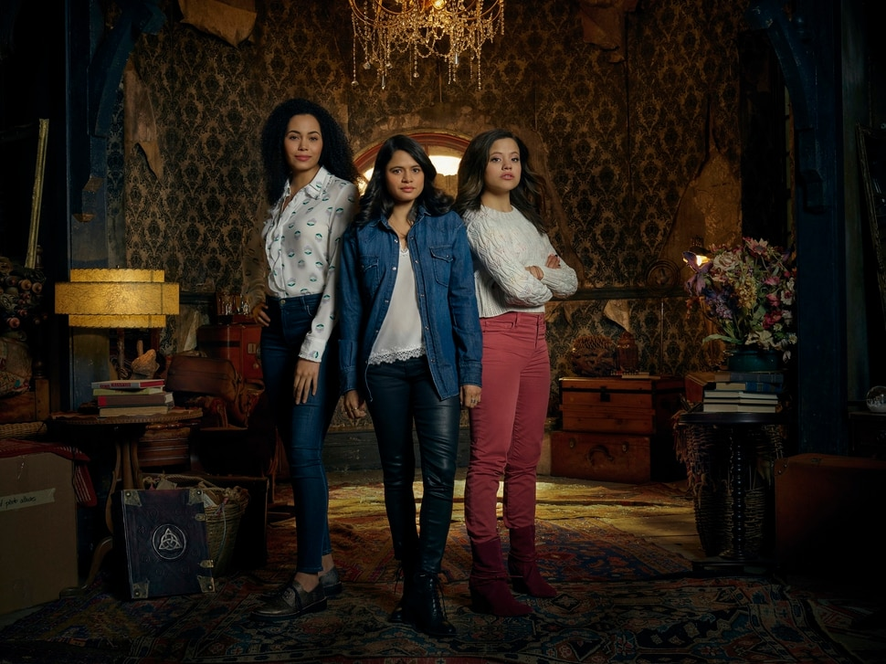"(Photo courtesy Jordon Nuttall/The CW) Madeleine Mantock as Macy Vaughn, Melonie Diaz as Mel Vera and Sarah Jeffery as Maggie Vera in ""Charmed."""