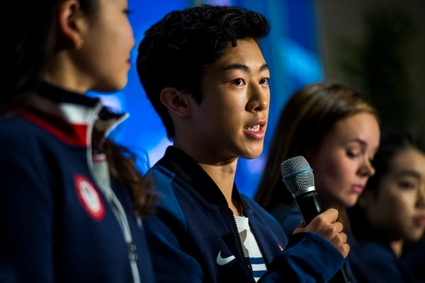 (Chris Detrick | The Salt Lake Tribune) Figure skating athlete Nathan Chen speaks during the Team USA Media Summit at the Grand Summit Hotel in Canyons Village Monday, September 25, 2017.