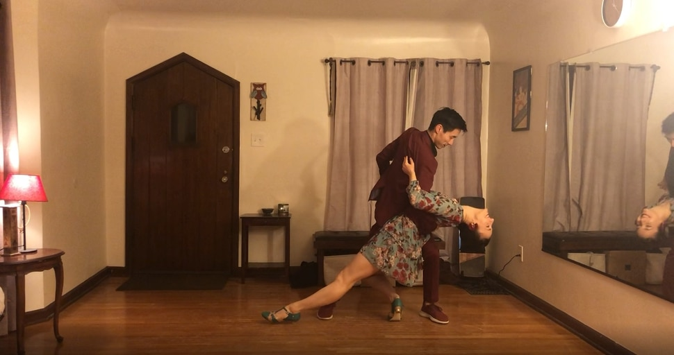 (Photo courtesy of Irina Amzashvili and Anthony Chen) Utah swing dancers Irina Amzashvili and Anthony Chen, dancing at home in a clip that's one of dozens included in the music video for Dance Song (for the End of the World by Lizzy & the Triggermen, a Los Angeles retro-swing group.