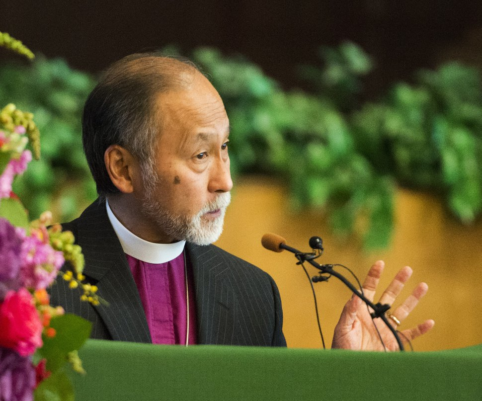 Rick Egan | The Salt Lake Tribune Bishop Scott Hayashi speaks at a vigil to mark the 10th anniversary of theTrolley Square shootings at Zion Evangelical Lutheran Church, Sunday, February 12, 2017.