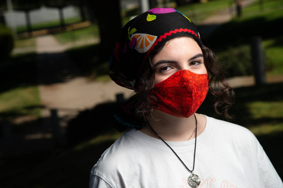 (Francisco Kjolseth | The Salt Lake Tribune) Riley Arnold, a senior at Skyline High, relays her experience during the first week of school during the coronavirus pandemic on Friday, August 28, 2020.