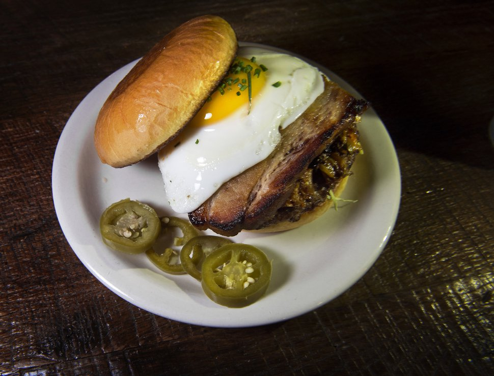 (Scott Sommerdorf | The Salt Lake Tribune) The Sunrise Burger with poached egg at the Purgatory Bar.