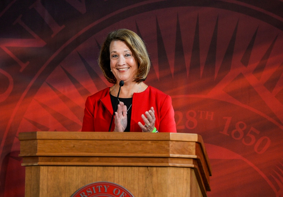 (Leah Hogsten | The Salt Lake Tribune) University of Utah President Ruth Watkins thanks the Huntsman family for their $150 million gift to establish the Huntsman Mental Health Institute to bolster the existing University Neuropsychiatric Institute and psychiatry department, Nov. 4, 2019.