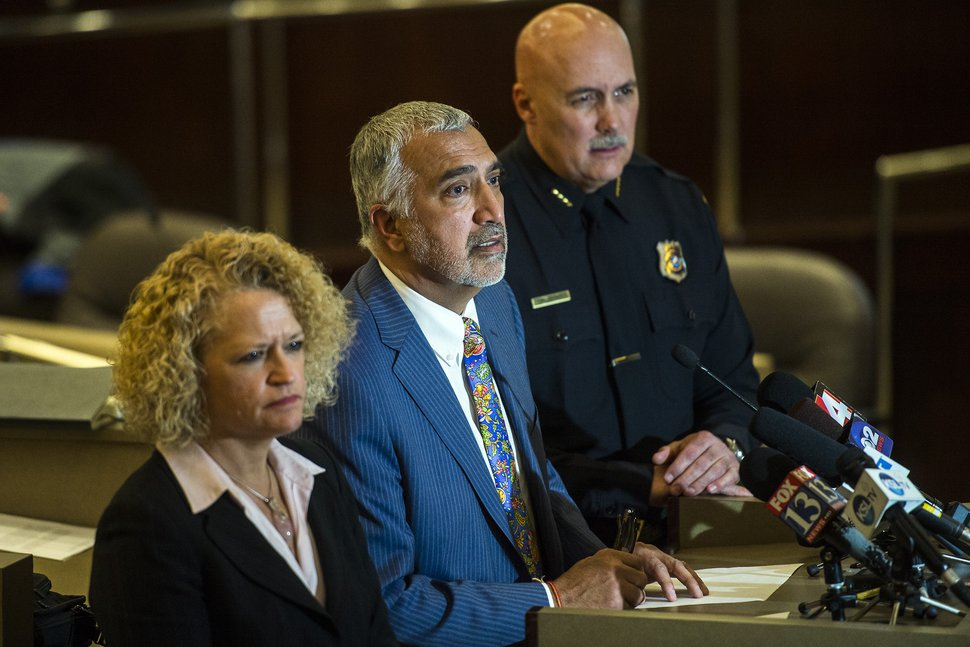 Chris Detrick | The Salt Lake Tribune Salt Lake County District Attorney Sim Gill, Salt Lake City Mayor Biskupski and Salt Lake City Police Chief Brown address members of the media during a press conference at the Salt Lake County Government Center Tuesday January 12, 2016.