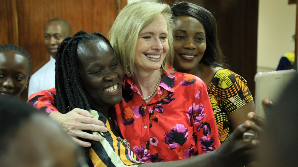 (Photo courtesy of The Church of Jesus Christ of Latter-day Saints) Young women take a picture with Bonnie H. Cordon, Young Women general president, in Abidjan, Ivory Coast, Friday, March 8, 2019.