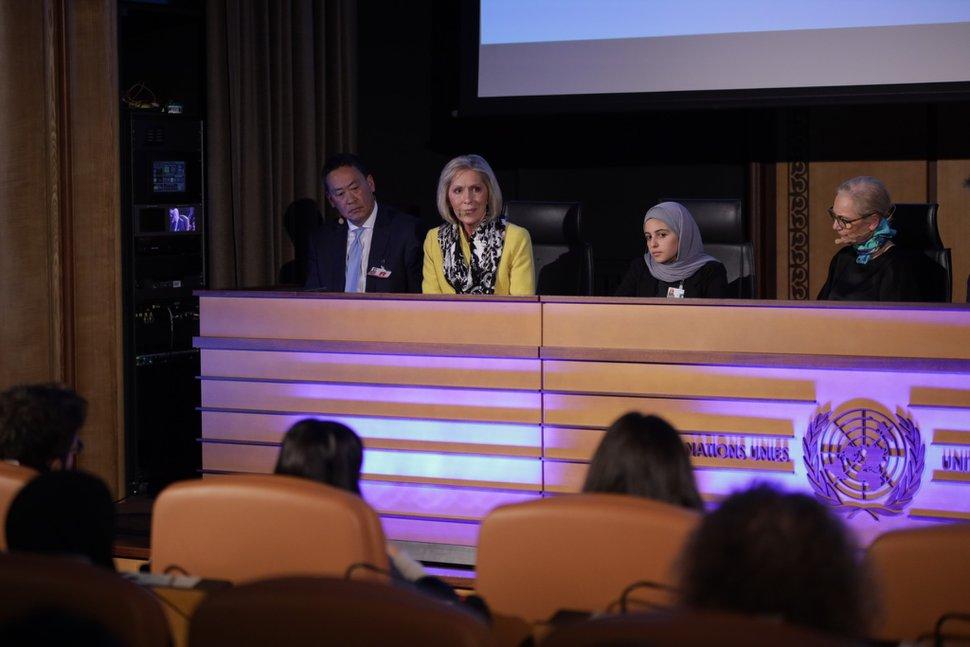 (Photo courtesy of UNICEF) Joy D. Jones speaks at a UNICEF panel discussion in Geneva, Switzerland, on Dec. 5, 2019.