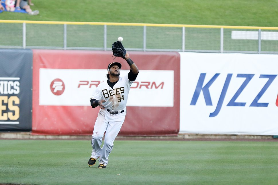 | Courtesy of Salt Lake Bees Cesar Puello in action for the Bees.