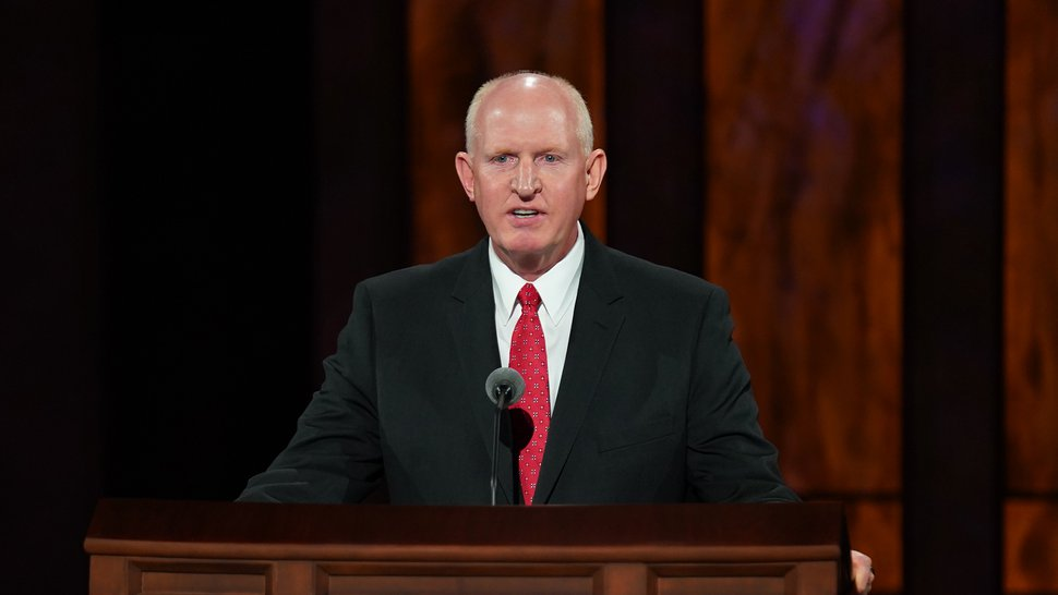 (Photo courtesy of The Church of Jesus Christ of Latter-day Saints) Kelly R. Johnson, a general authority Seventy, speaks Sunday afternoon at General Conference on Oct. 4, 2020.
