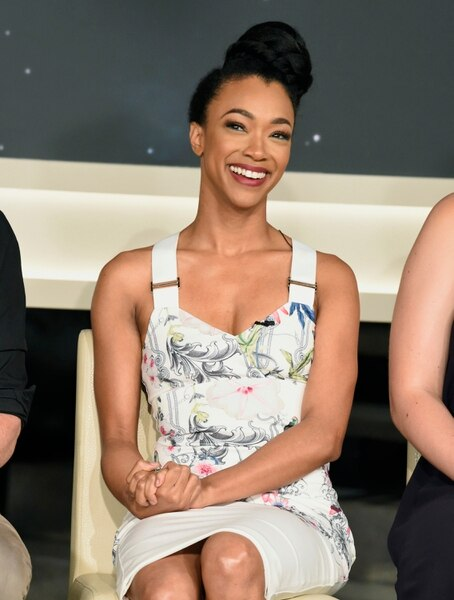 Sonequa Martin-Green participates in the Star: Trek Discovery panel during the CBS Television Critics Association Summer Press Tour at CBS Studio Center on Tuesday, Aug. 1, 2017, in Beverly Hills, Calif. (Photo by Chris Pizzello/Invision/AP)