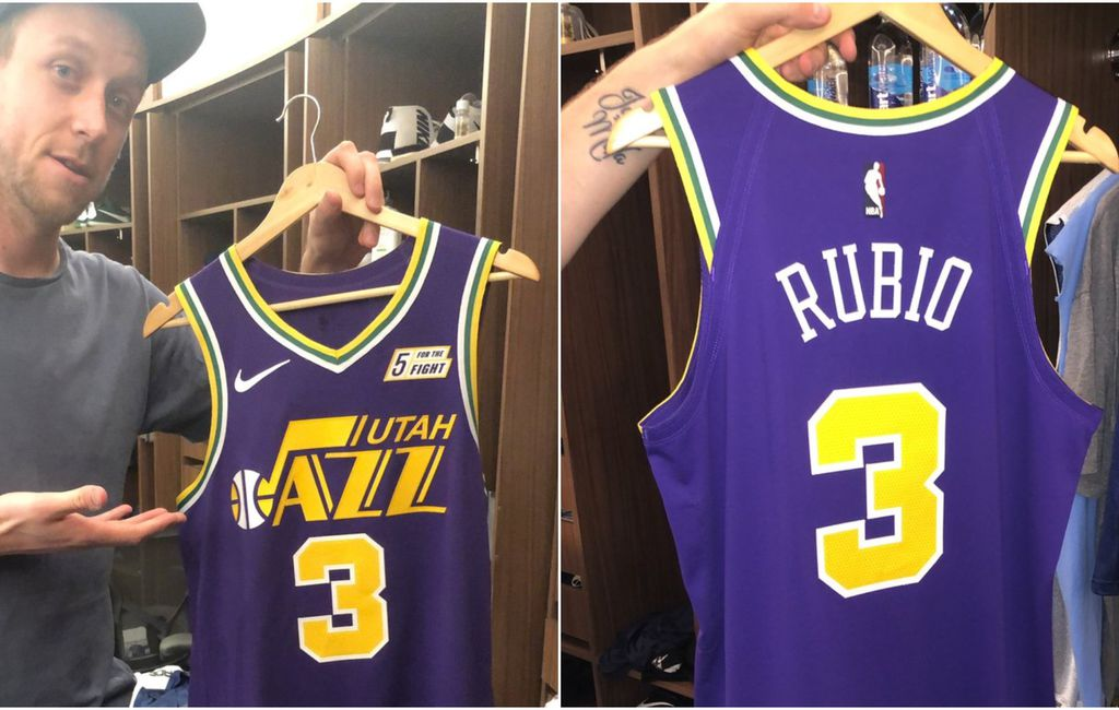 Ricky Rubio reveals purple and gold Jazz throwback jersey