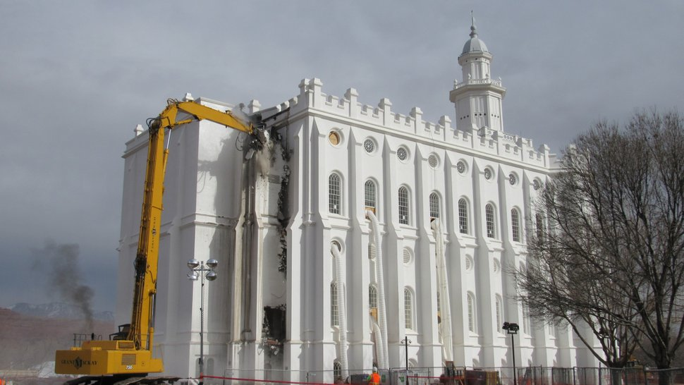 (Photo courtesy of The Church of Jesus Christ of Latter-day Saints) Removal of the west end of the St. George Temple, added in the 1970s to accommodate an elevator, begins Jan. 20, 2020 in St. George. A new addition with an updated elevator and utilities system will go in its place. The anticipated completion of renovation on the temple is 2022.