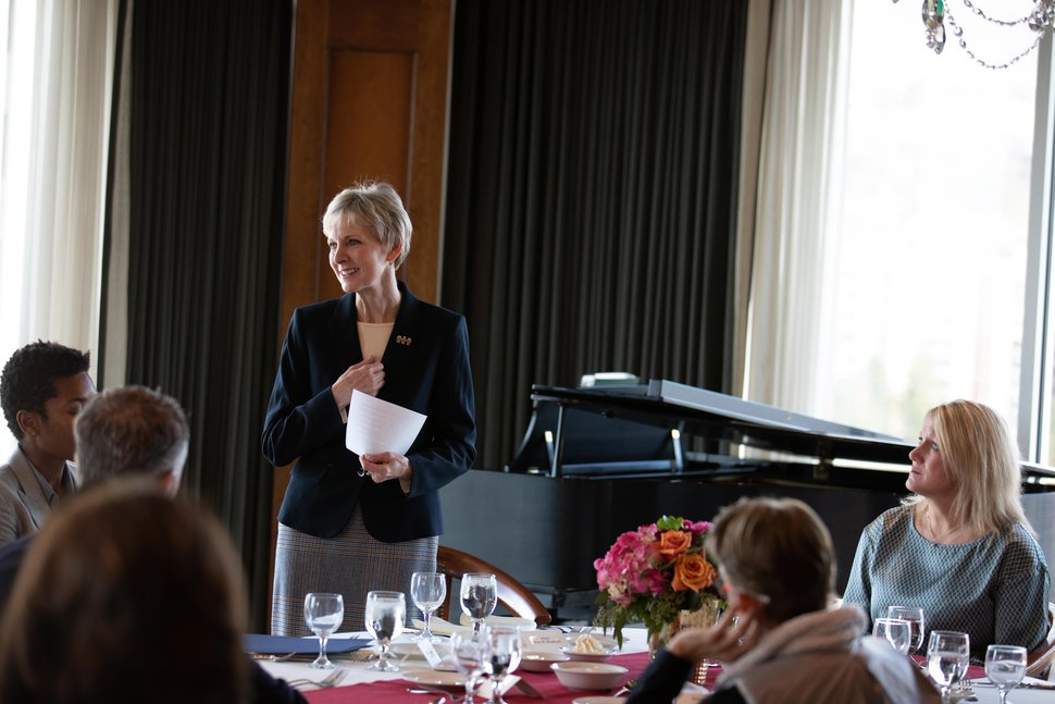 (Courtesy photo | The Church of Jesus Christ of Latter-day Saints) Jean B. Bingham, general president of the church's Relief Society, gives remarks at a luncheon with the Common Ground Executive Committee on Nov. 2, 2018.