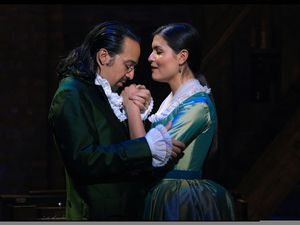 "(Photo courtesy Disney+) Lin-Manuel Miranda, left, and Phillipa Soo play Alexander Hamilton and his wife, Eliza, in the filmed version of the original Broadway production of ""Hamilton,"" which starts streaming Friday, July 3, on Disney+."
