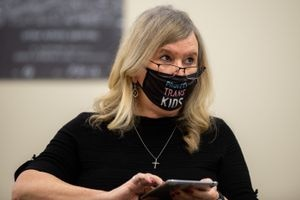 (Trent Nelson | The Salt Lake Tribune) Sue Robbins during a hearing on HB302, a controversial bill on transgender athletics, by the Senate Health and Human Services Standing Committee at the state Capitol in Salt Lake City on Wednesday, Feb. 24, 2021.