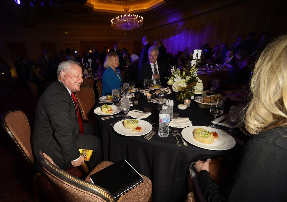 (Scott Sommerdorf | The Salt Lake Tribune) Conservative pundit Bill Kristol, left, chats with other guests prior to delivering the keynote presentation at the Sutherland Institute's Annual Gala, Friday, November 3, 2017.