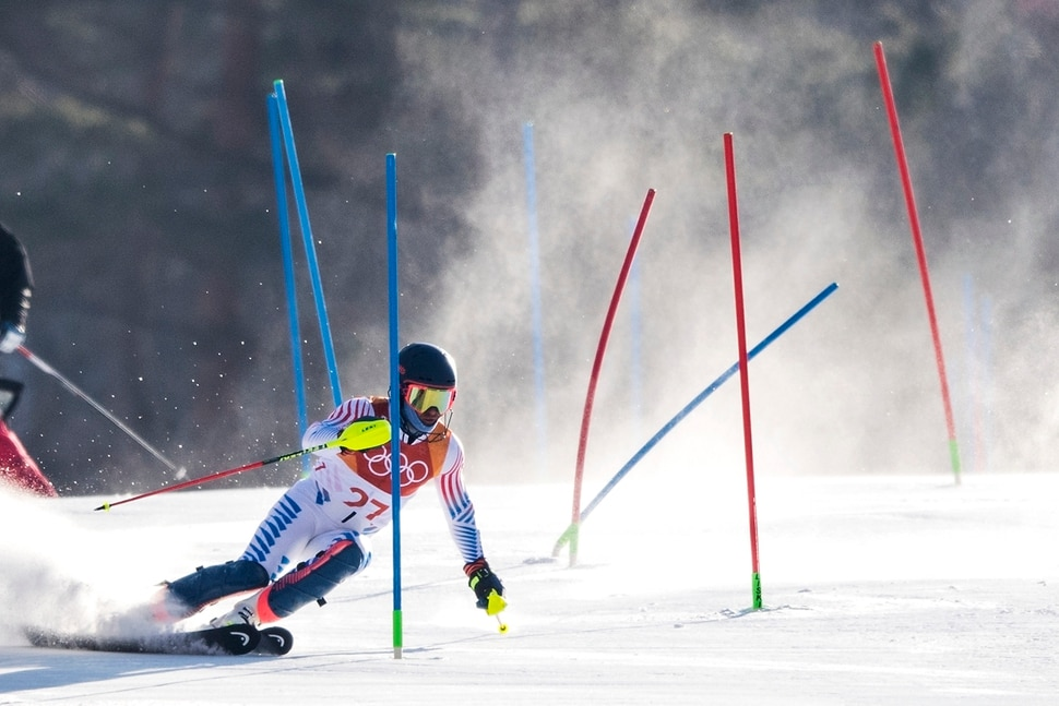 (Chris Detrick | The Salt Lake Tribune) USA's Ted Ligety competes in the Men's Alpine Combined at Jeongseon Alpine Centre during the Pyeongchang 2018 Winter Olympics Tuesday, February 13, 2018. Ligety finished in 5th place with a time of 2:07.97.