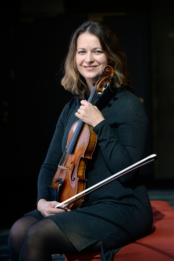 (Scott Sommerdorf | The Salt Lake Tribune) Evgenia Zharzhavskaya is one of the three violinists to have recently joined the Utah Symphony, Thursday, October 19, 2017.