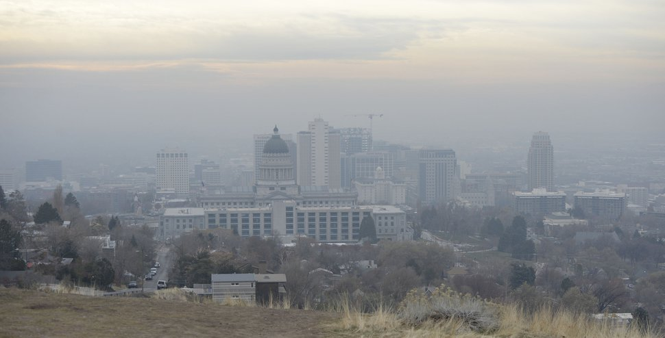 (Al Hartmann | Tribune file photo) This Dec. 4, 2017 photo shows a hazy scene of downtown Salt Lake City. Air quality was in the yellow range.