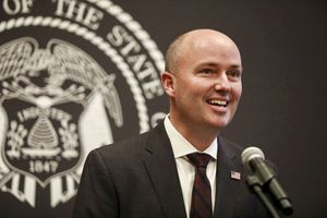(Laura Seitz | Deseret News, pool) Gov. Spencer Cox speaks at a briefing on COVID-19 at the Capitol in Salt Lake City on Thursday, May 13, 2021.