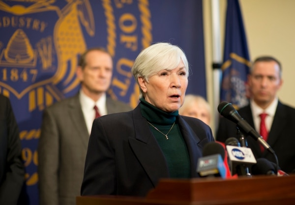 Lennie Mahler | Tribune file photo Gail Miller speaks to reporters in a news conference announcing a deal between Count My Vote and lawmakers at the Capitol on Sunday, March 2, 2014.