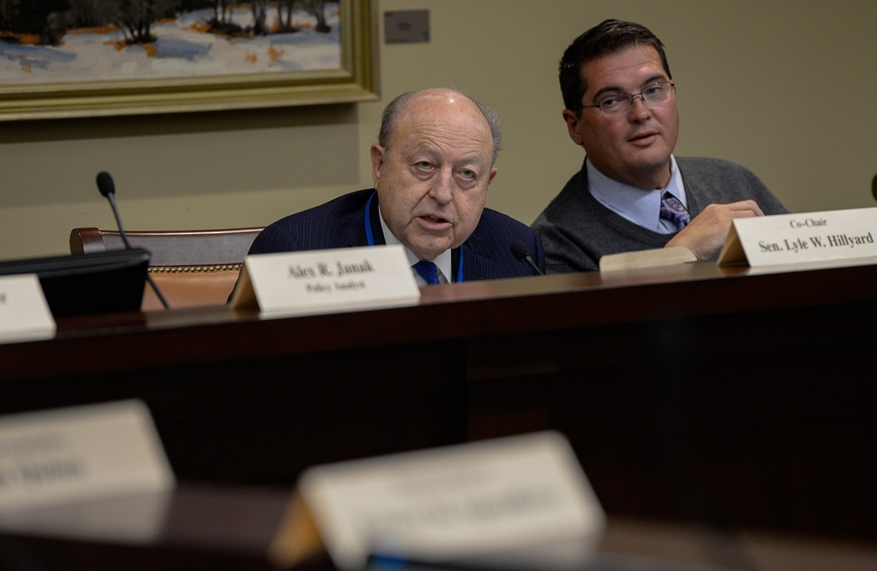 (Francisco Kjolseth | The Salt Lake Tribune) Senator Lyle Hillyard, R-Logan, left, chairman of the tax structuring and equalization task force and Utah Rep. Francis Gibson, R-Mapleton, along with other members of the tax reform task force speak during a meeting at the Utah Capitol on Monday, Nov. 25, 2019.