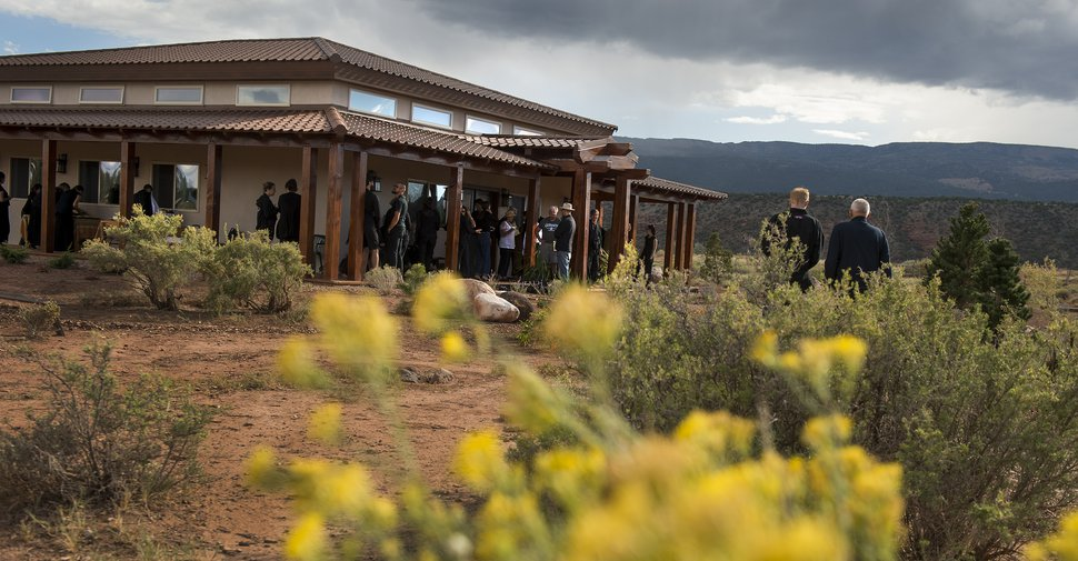 (Leah Hogsten | The Salt Lake Tribune) The Torrey Zendo Dedication and Eye Opening ceremony at Two Arrows Zen Meditation Center, September 13. 2017 in Torrey. The Torrey Zendo, founded by Diane Musho Hamilton Sensei and Michael Mugaku Zimmerman Sensei, located near Capitol Reef National Park, had been seasonal but is now a year-round facility for study, practice and retreats.