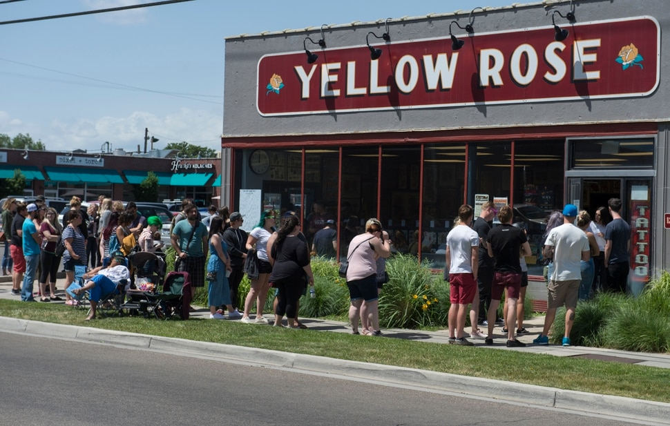(Rick Egan | The Salt Lake Tribune) People line up at the Yellow Rose Tattoo for a flash tattoo event where all proceeds go to the Rape Recovery Center of Utah. It's part of a national event where tattoo shops raise money for sexual assault victims. Sunday, June 10, 2018.