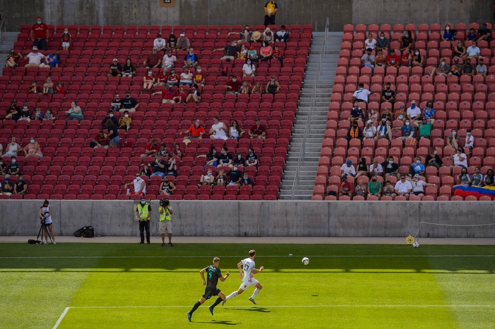 (Trent Nelson | The Salt Lake Tribune) Socially distancing fans watch as the Real Monarchs host the San Diego Loyal SC at Rio Tinto Stadium in Sandy on Saturday, July 11, 2020.