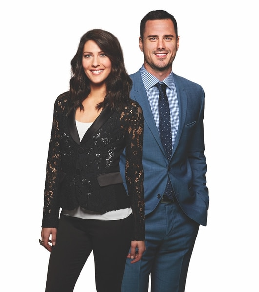 (Photo courtesy of Warner Bros.) Becca Kufrin and Ben Higgins are the hosts of The Bachelor Live On Stage.