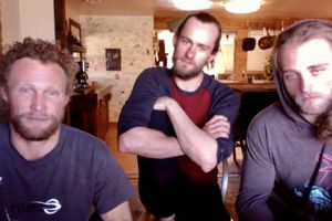 (Zoom screen shot by Brian Maffly) Three of the Moab slackliners who removed the 'Utah monolith' from a remote canyon last month discuss the sculpture's fate with reporters on a Zoom call Monday, Dec. 21, 2020. Pictured, left to right, are Andy Lewis, Sylvan Christensen and Homer Manson. On Friday they delivered the monolith to the Bureau of Land Management's Moab field office.