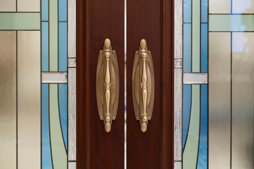 (Photo courtesy of The Church of Jesus Christ of Latter-day Saints) Stained-glass windows enhance the artistry of the doors in the Rome Italy Temple.