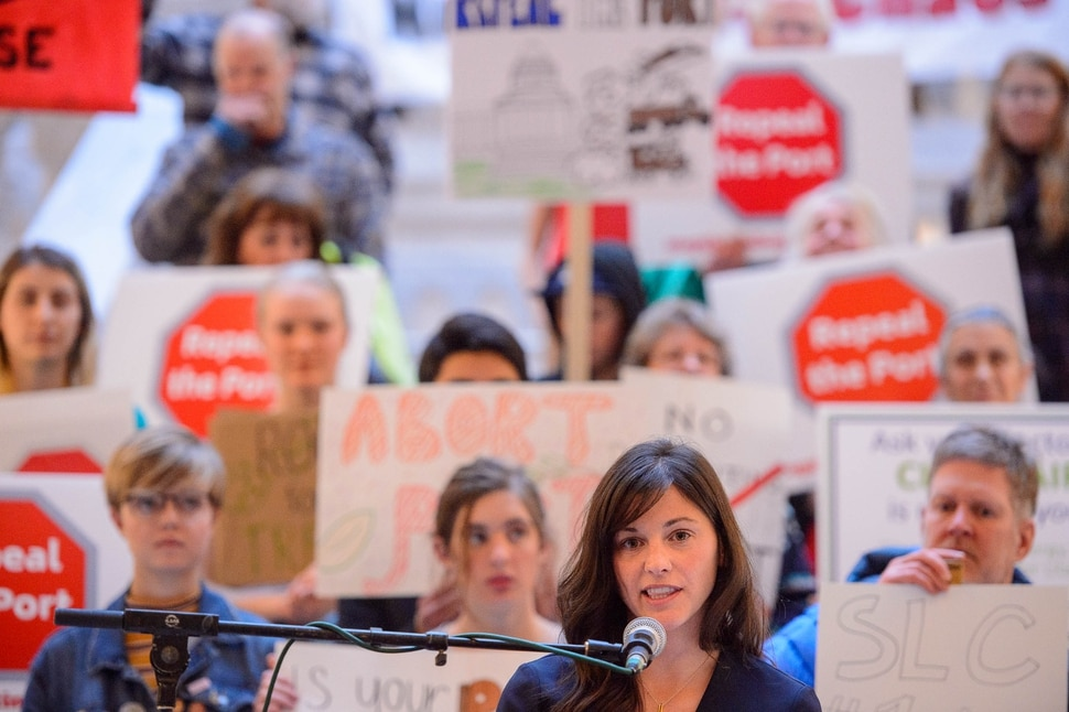 (Trent Nelson | The Salt Lake Tribune) Carly Ferro, acting director for the Utah Sierra Club, speaks at a rally against the Inland Port at the state Capitol in Salt Lake City on Monday, Feb. 3, 2020.