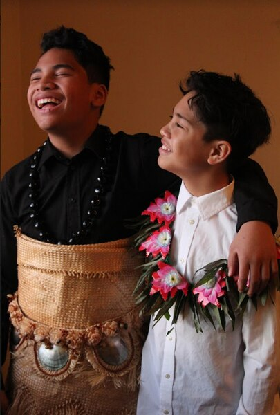 (Photo courtesy of Moana Palelei HoChing) Manu Taula (left) wears traditional Pasifika attire next to Mason Taula (right) as they modeled for photos created for the launch of Pasifika First Fridays on March 3, 2018. They are nephews of the HoChing sisters who founded the pop-up festival and have been to every show since the launch. Pasifika First Fridays will be celebrating its two-year anniversary on Friday, March 6.
